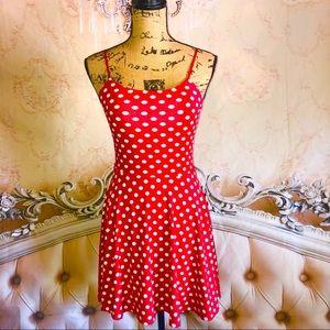LN- MEEK Red Polka Dot Pleated Dress